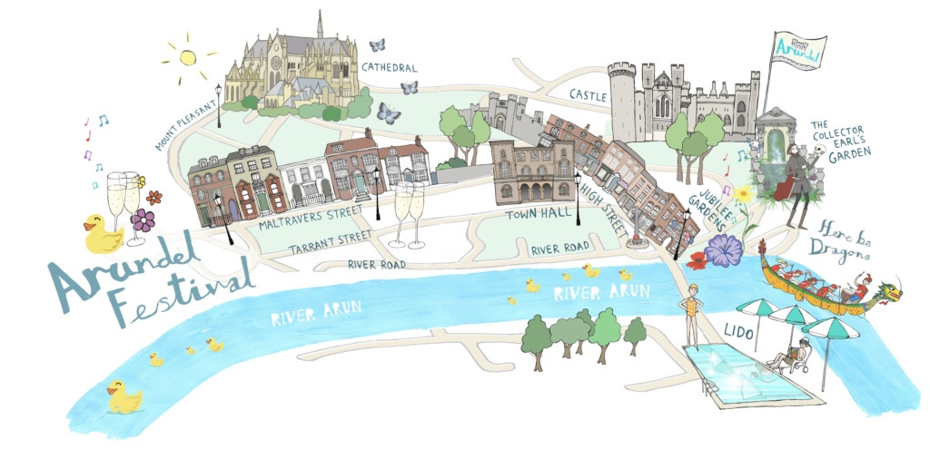 illustrative map of arundel festival