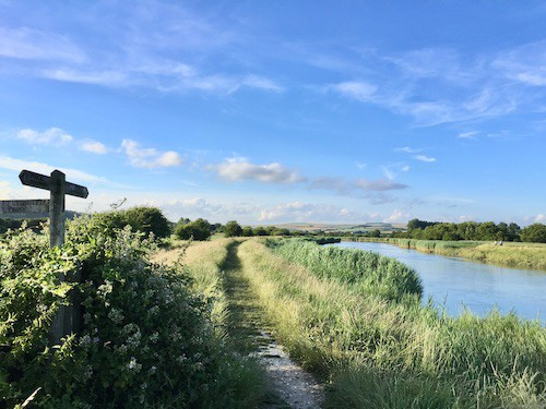 public footpath next to river arun
