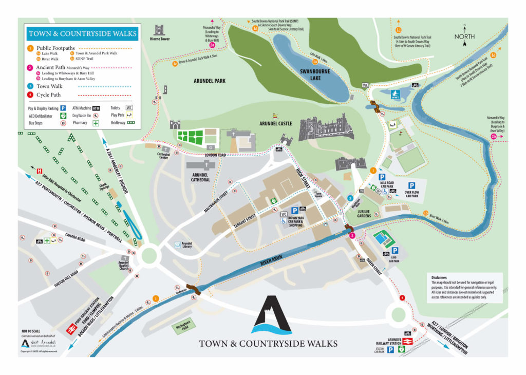 map of town walks in arundel