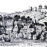 Engraving of Arundel town and castle by Wenceslaus Hollar - 1644 - What is believed to be Nineveh house is circled