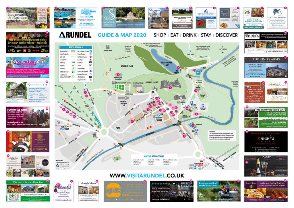 digital map of arundel with advertisers