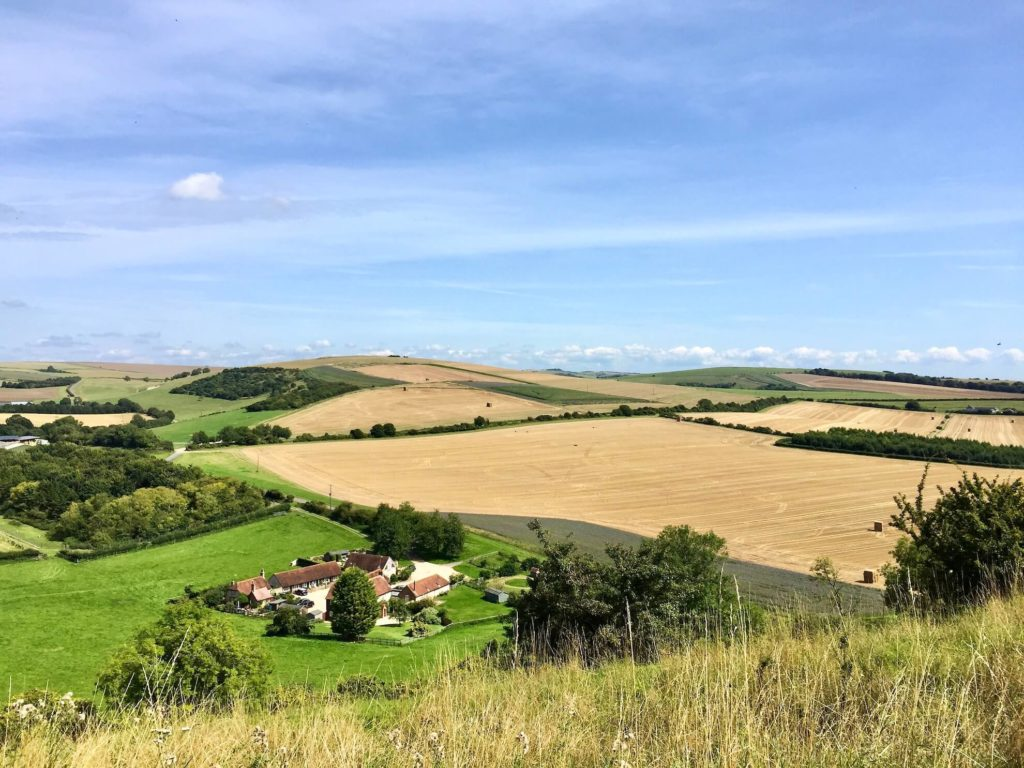 view of farmland fields and farm buildings