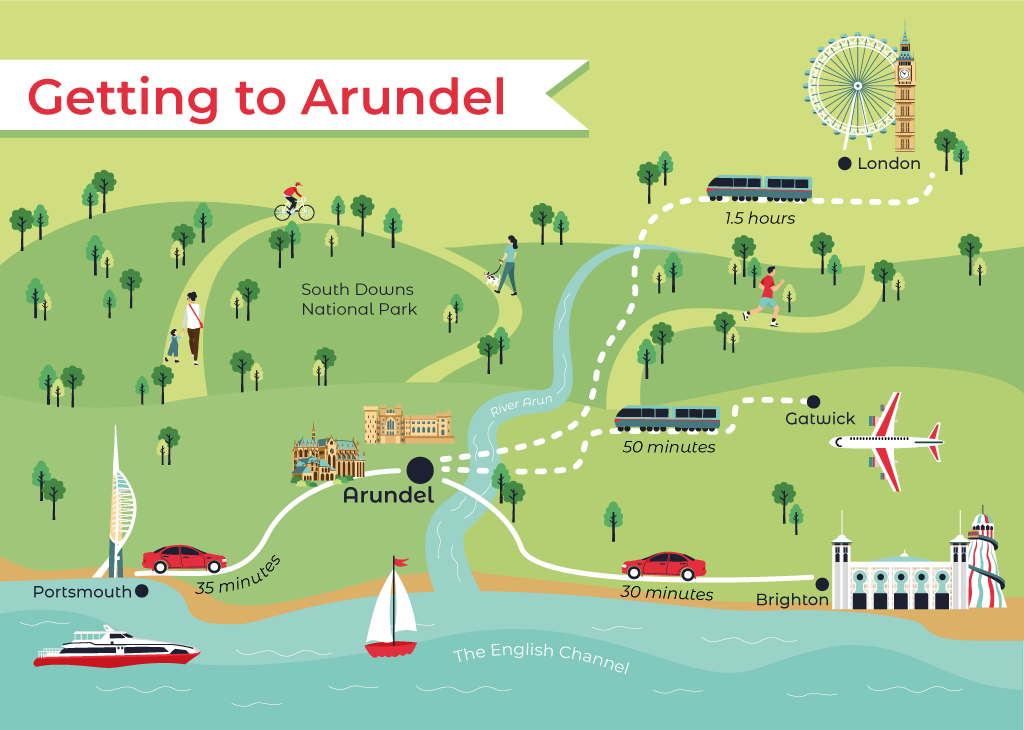 Travelling to Arundel map