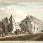 South West view from 1780. At the time, this part of the building was being reused as a Malthouse.