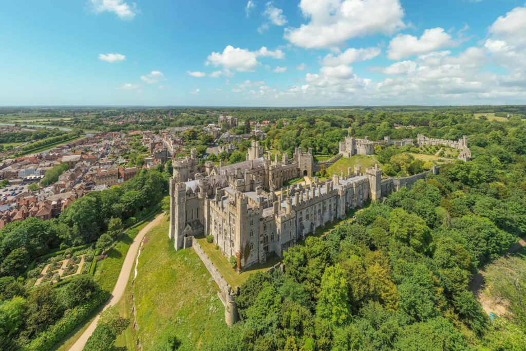 Arundel Town and Arundel Castle view from a drone