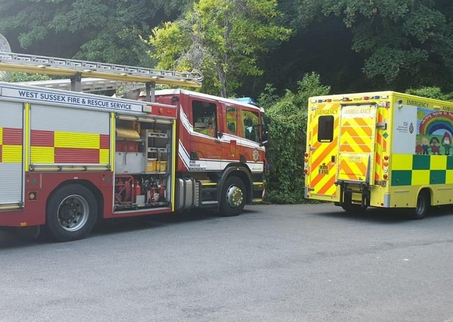 Fire engines outside Swanbourne lake in Arundel