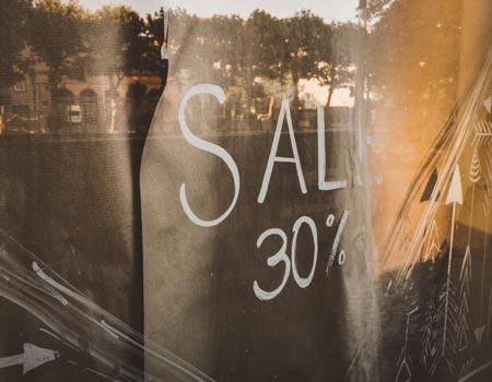 sale ticket on window