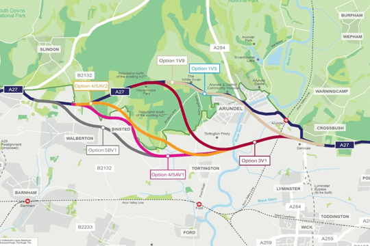 Arundel bypass proposed routes