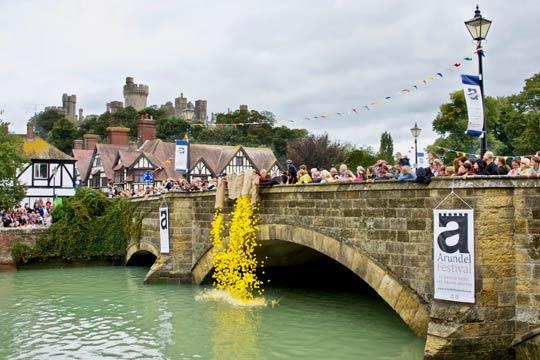Arundel Festival Duck Race from Arundel Bridge