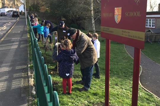 Children planting trees St Philips School Arundel